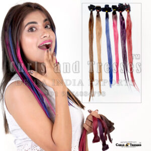 clip streak, colored human hair extensions, funky colored hair extensions, party wear hair extensions