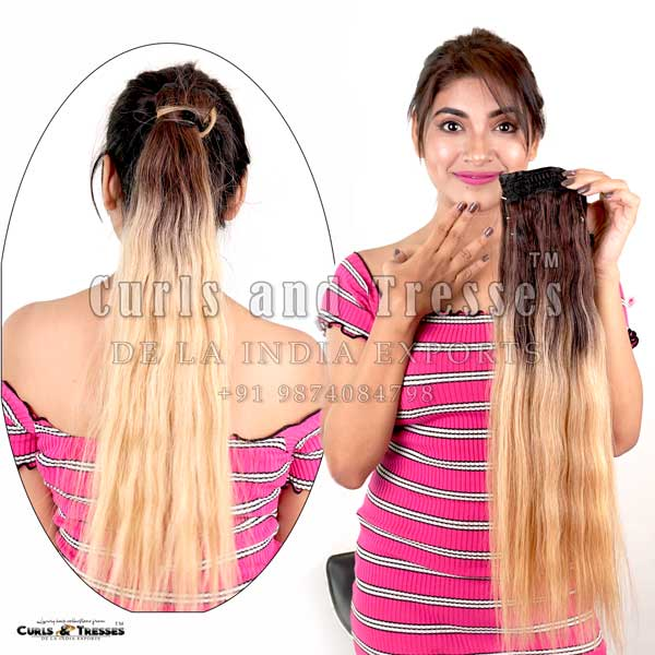 Ponytail hair extensions, Clip on hair extensions in india, seamless clip on hair extensions, hair extensions in india, virgin hair extensions in india, virgin hair extensions, virgin hair extensions in kolkata, human hair extensions in india, human hair extensions in kolkata, human hair extensions, hair extensions manufacturer in india, hair extension brands in india
