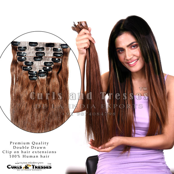 Seamless clip on hair extensions, clip on hair extensions, hair extensions, human hair extensions, indian hair extensions