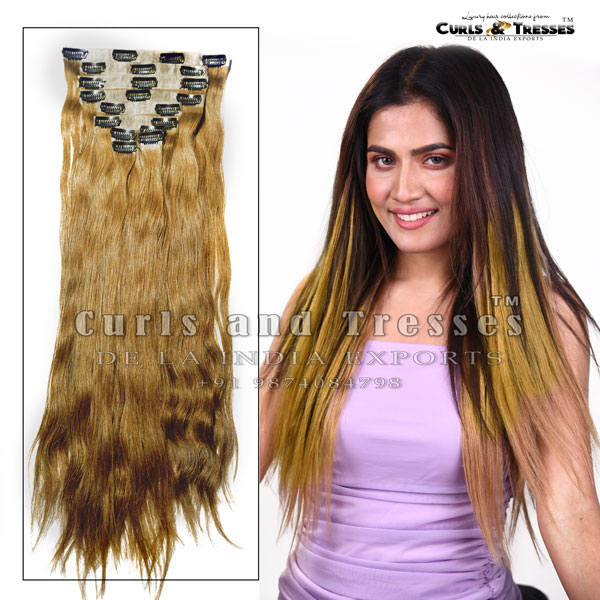 blonde clip on hair extensions, clip on hair extensions, seamless clip on hair extensions, hair extensions in india, virgin hair extensions in india